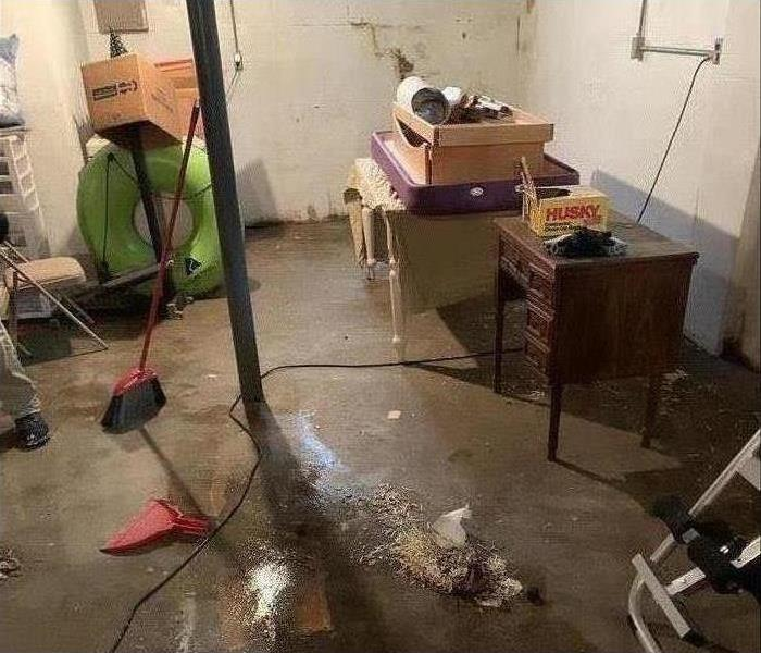 water damage in a basement